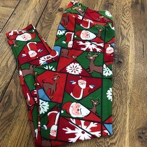 Lularoe Christmas Leggings Santa & Reindeer